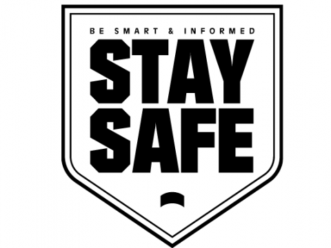 """An image of a shield that says, """"Be Smart & Informed. Stay Safe"""""""