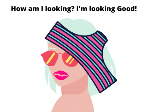 A picture of a cartoon woman with underpants on her head. She