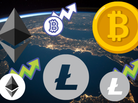 A picture of some cryptocurrencies (the bitcoin, ethereum, and litecoin logos). Each is repeated twice. One of each also has an arrow coming off it pointing up, which represents the increase in value. The background is a picture of the earth seen from space.
